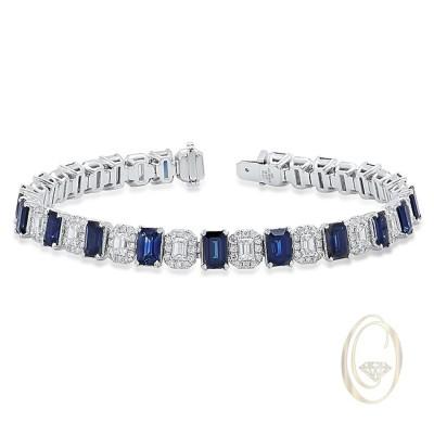 18K DIAMOND BRACELET WITH BLUE SAPPHIRES OCA38418