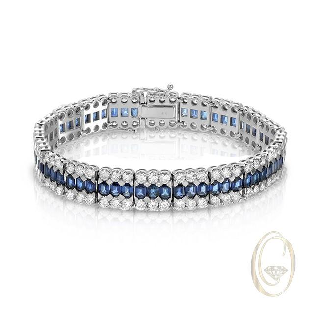 18K DIAMOND BRACELET WITH BLUE SAPPHIRES