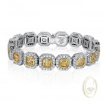 18K DIAMOND BRACELET WITH YELLOW DIAMONDS