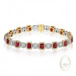 18K TWO-TONE DIAMOND BRACELET WITH RED RUBIES OCA38451
