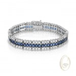 18K DIAMOND BRACELET WITH BLUE SAPPHIRES
