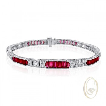 18K DIAMOND BRACELET WITH RED RUBIES