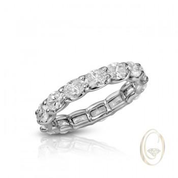 18K OVAL DIAMOND ETERNITY RING