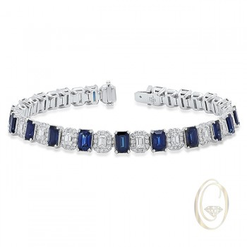 18K DIAMOND BRACELET WITH BLUE SAPPHIRES OCA38418