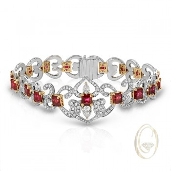 18K TWO-TONE DIAMOND BRACELET WITH RED RUBIES